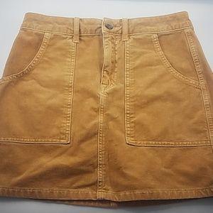 American Eagle Super Stretch Corduroy Gold Skirt